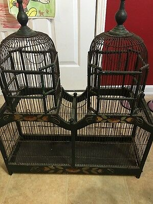 VINTAGE VICTORIAN STYLE DUAL DOME STEEPLE TOP WIRE & WOOD BIRD CAGE Must See!