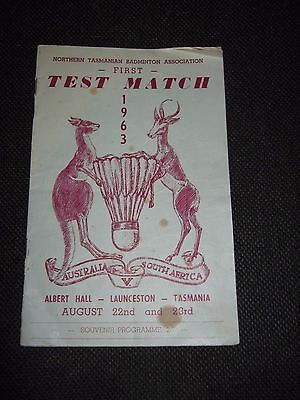 Vintage Badminton Program 1963 Test Match Australia v South Africa Signed by All