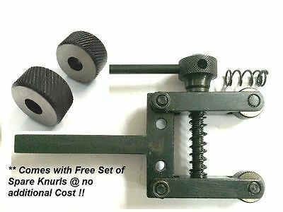 """Spring Loaded Clamp Type Knurling Tool 2"""" Capacity for Lathes+ 2 Spare Knurls"""