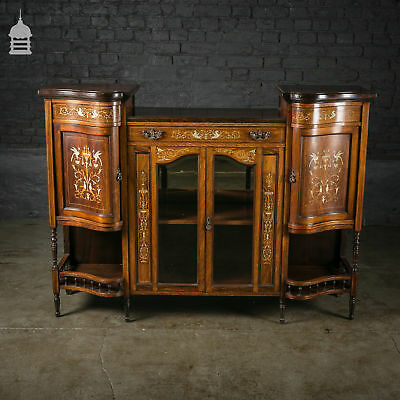 Stunning 19th C Inlaid Rosewood Credenza with Turned Detail