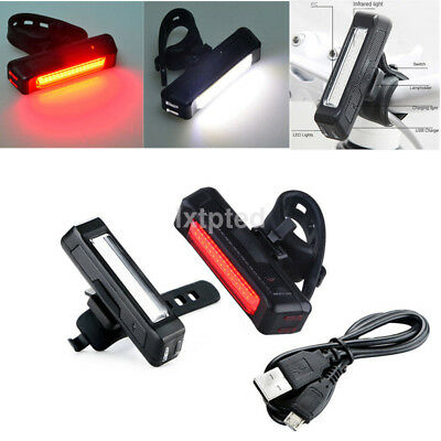 USB Rechargeable LED Bicycle Bike Front Rear Tail Light 6Modes Red/white Light ~
