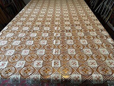 Vintage Antique Cotton Crochet Lace Tablecloth with Cross Stitch Panels 232x150