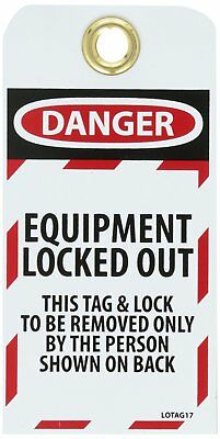 """NMC LOTAG17-25 """"DANGER - EQUIPMENT LOCKED-OUT"""" Lockout Tag, Unrippable Vinyl, 3"""""""