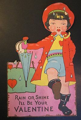 Vintage GIRL with UMBRELLA Valentine made by Carrington Co Chicago Illinois
