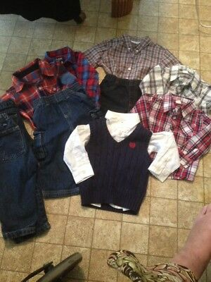 Lot Of 11 Toddler Boys Jeans And Shirts All In EUC Name Brands Sz 6-18M