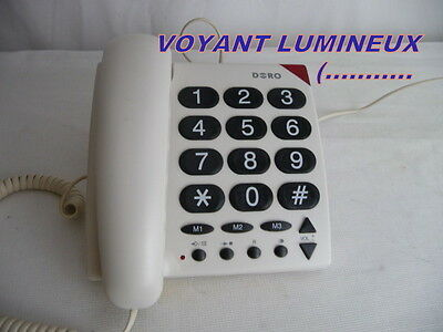 TELEPHONE FIXE -grosses touches-+ couleur blanc  signal lumineux rouge