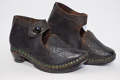 Antique Victorian Childrens Shoes leather wood clogs childs vintage clothing old