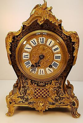 A Superb Substantial Brass Inlay Boulle Bracket Table Clock Connell Paris