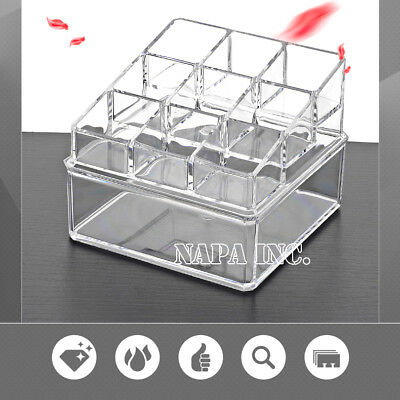 2 Tiers Clear Acrylic Makeup Cosmetic Organizer  Jewelry Accessories Holder Case
