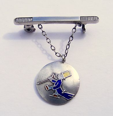 Art Deco Silver & Enamel Bar Brooch Marked D.R.G.M 800 Maker V.M