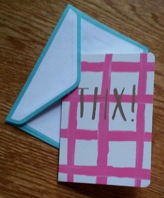 Set of 8 Blank Greeting Note Cards & Envelopes ~  THX! Thanks! Pink White Teal