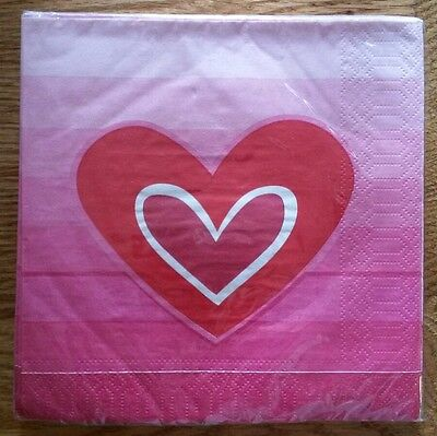 """20 ct 2 ply Paper Party Lunch Napkins 13"""" ~ Valentine's Day Heart Shaded Pink"""