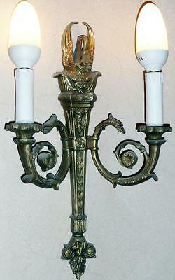 GOLD MESSING KERZEN WAND LAMPE LEUCHTER LÜSTER APPLIKE Antik Barock Empire Louis
