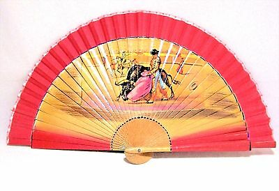 Vintage Spanish Bull Fighter Folding Fan Red Fabric Wood Stays Home Decor 117