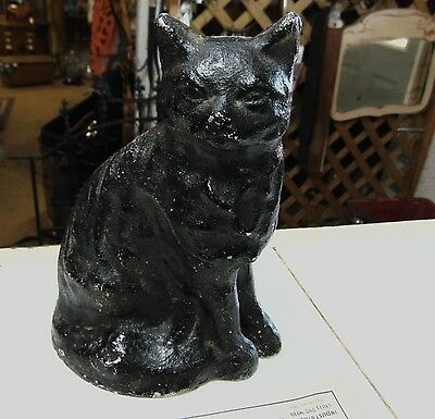 "vintage cast metal black cat bank doorstop 8.5"" metal BANK Doorstop Early piece"