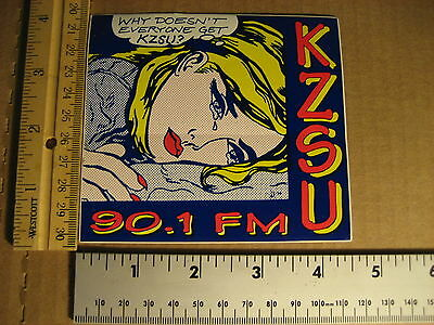 RARE 90s STANFORD KZSU ROY LICHTENSTEIN DECAL STICKER 90.1 CALIFORNIA RADIO