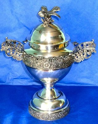 Gorgeous Antique Victorian SP Figural Sugar Bowl with Spoon Holders and Bird