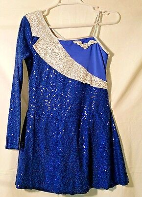 Airline Stewardess Dance costume blue white and silver size adult large