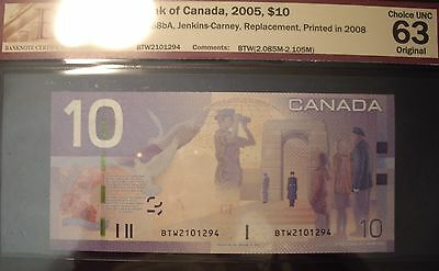 Canada 2008 BC-68bA $10 Replacement  BTW2101294 - BCS ChUnc-63