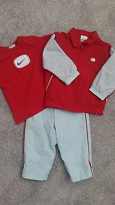 BNWOT NIKE baby boys Red/Blue woven tracksuit & matching tshirt Age 18-24 months