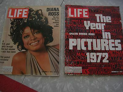 Lot Of 2 Vintage Life Magazines 1972 Diana Ross, The Year In Pictures 1972