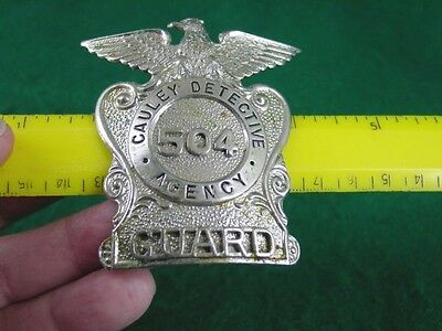 Vintage Obsolete Cauley Detective Agency Security Guard Breast Badge