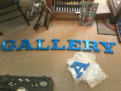 """GEMINI  Formed Plastic Sign Letters 6""""  """"GALLERY"""" ~ Blue ~ Pad Mounting - New"""