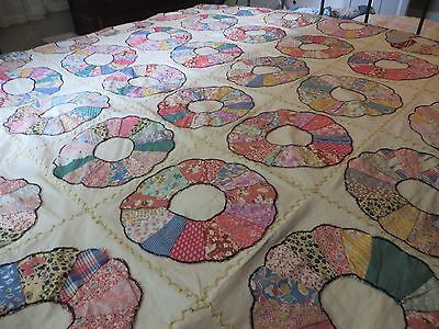 Antique Dresden Plate Quilt Top~Fabulous Vintage Fabrics~All Hand Done
