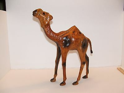 "Large Leather Wrapped Dromedary? Camel Statue Vintage Figure 14.5"" Glass Eyes"