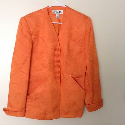 VTG CHRISTIAN DIOR Skirt Suit ORANGE TEXTURED Cotton Blend BLAZER Silky feel 12