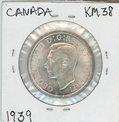 1939 Canadian Silver Dollar ,tower Rev., Km#38 Nice Coin, $8 Shipping To Canada