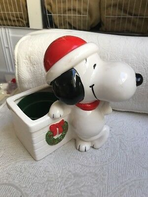 Vintage 1966 PEANUTS Snoopy Figure Ceramic Planter Pot Collectible Schultz