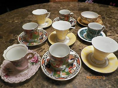 Beautiful Collection of 9  Demitasse Tea Cups and Saucer Sets 9-1