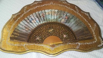 19Th C. Hand Painted Fan Mounted On Frame And Signed By Artist
