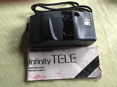 OLYMPUS INFINITY TELE 35 MM CAMERA w/ INSTRUCTION BOOKLET ESTATE FIND FINE COND