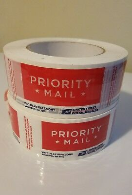 2  Red Usps Priority Logo Tape Rolls~~Jan 2015 #106A