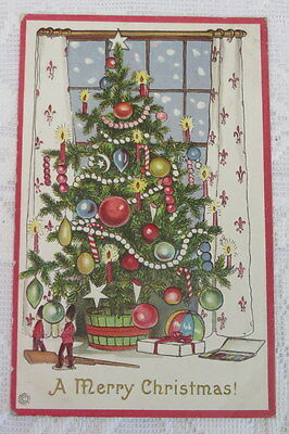 Vintage Christmas Postcard , Fir Tree With Candles and Toys