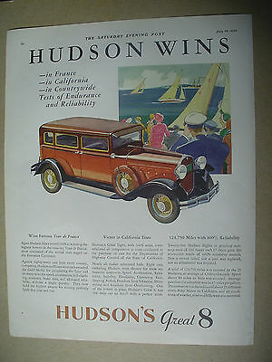 Vintage 1930 magazine ad for Hudson`s great 8, automobile.