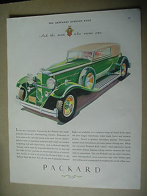 Vintage 1931 magazine ad for the Packard Victoria convertible automobile.