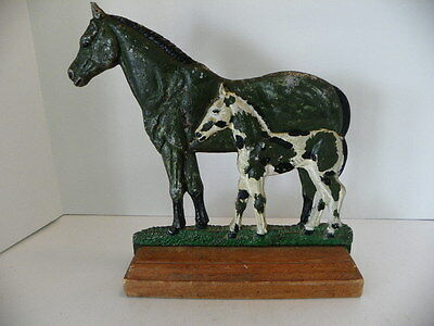 Vintage Painted Aluminum Horse Statue, Mare & Baby, Colt, Filly On Wooden Stand