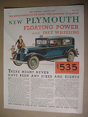 Vintage 1931 magazine ad for the New Plymouth, floating power, automobile.