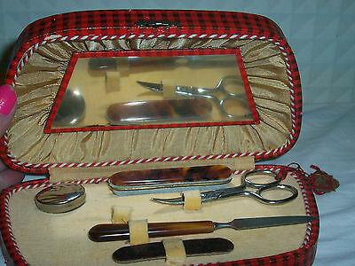 Vintage Boxed Manicure Set  Missing One Peice Displays Lovely In Red Tartan Box