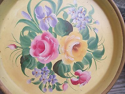 """RARE Vintage Tole Painted Metal Beer Serving Tray 13 1/2"""" Rpses and Iris"""