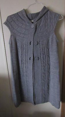 Ambiance Gray Sleeveless Sweater Vest With Hood Size L Large
