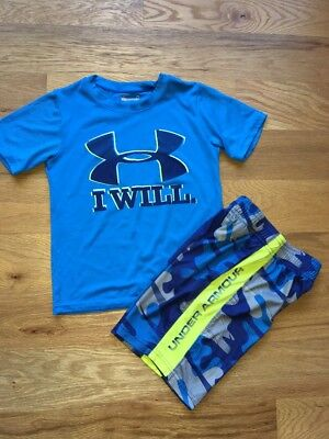 Under Armour Boys Youth Summer Outfit, Blue Tshirt/shorts.  Size 5