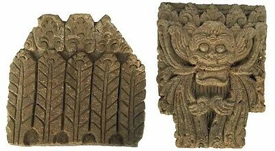 (2) Large 19Th C. Burmese Stucco/brick Carved Pagoda Temple Elements