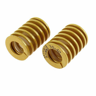 30mm OD 40mm Long Light Load Stamping Compression Mold Die Spring Yellow 2 Pcs