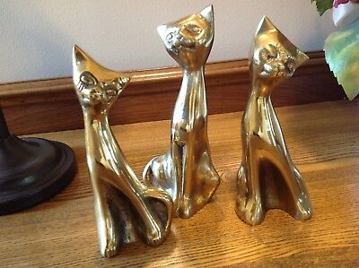 Set Of 3 Vintage Brass Siamese Cats Mid Century Modern