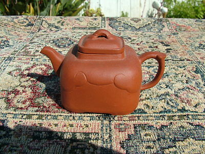 Vintage Chinese Red Terra Cotta  Sculpted Clay Teapot