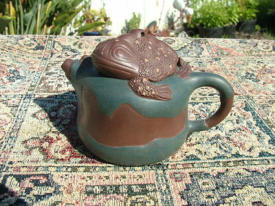 Vintage Chinese  Toad Clay Teapot